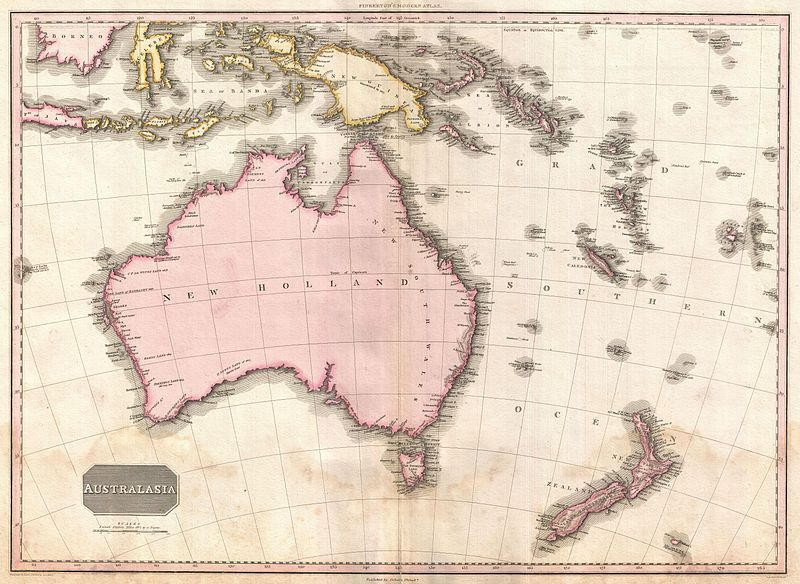 Pinkerton map of Australia and New Zealand